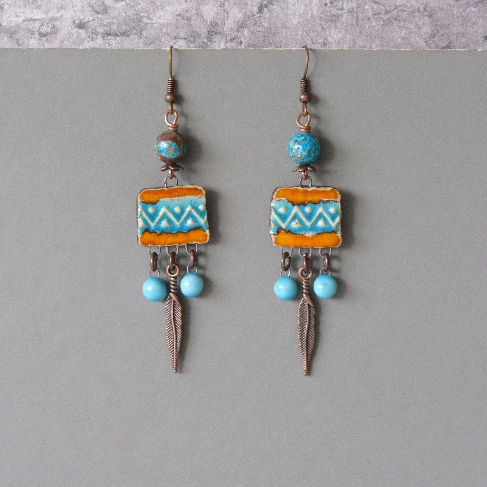 Feather Boho Native American Earrings, Ethnic Turquoise Handmade