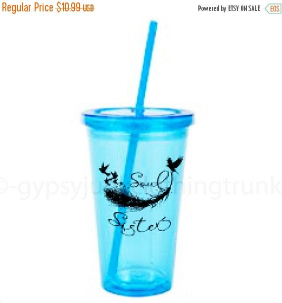 ON SALE Drink Tumbler - Soul Sister Tumbler - Blue Tumbler - Sister Gift - Feather Print Drink Tumbler - Customizable Drink Tumbler by GypsyJunkClothing