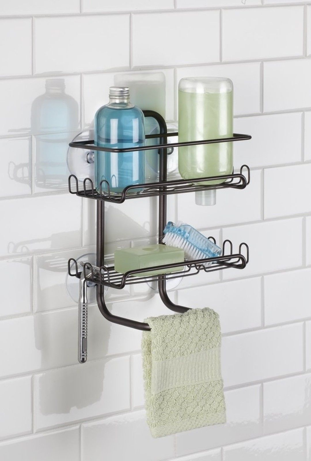Shelves For Shampoo And Soaps Hooks On Both Sides To Hang Razors And Accessories Hanging Storage Shelves Shower Shelves Shower Remodel