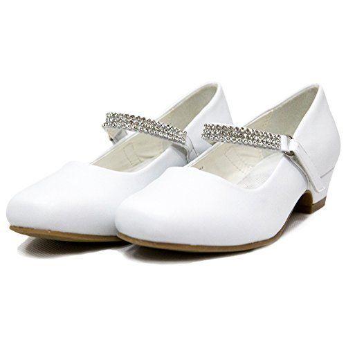 153f73b9c53 kids Girls Low Heels wedding bridesmaid shoes Dress Shoes with Rhinestones  Ychen(11 M US White)