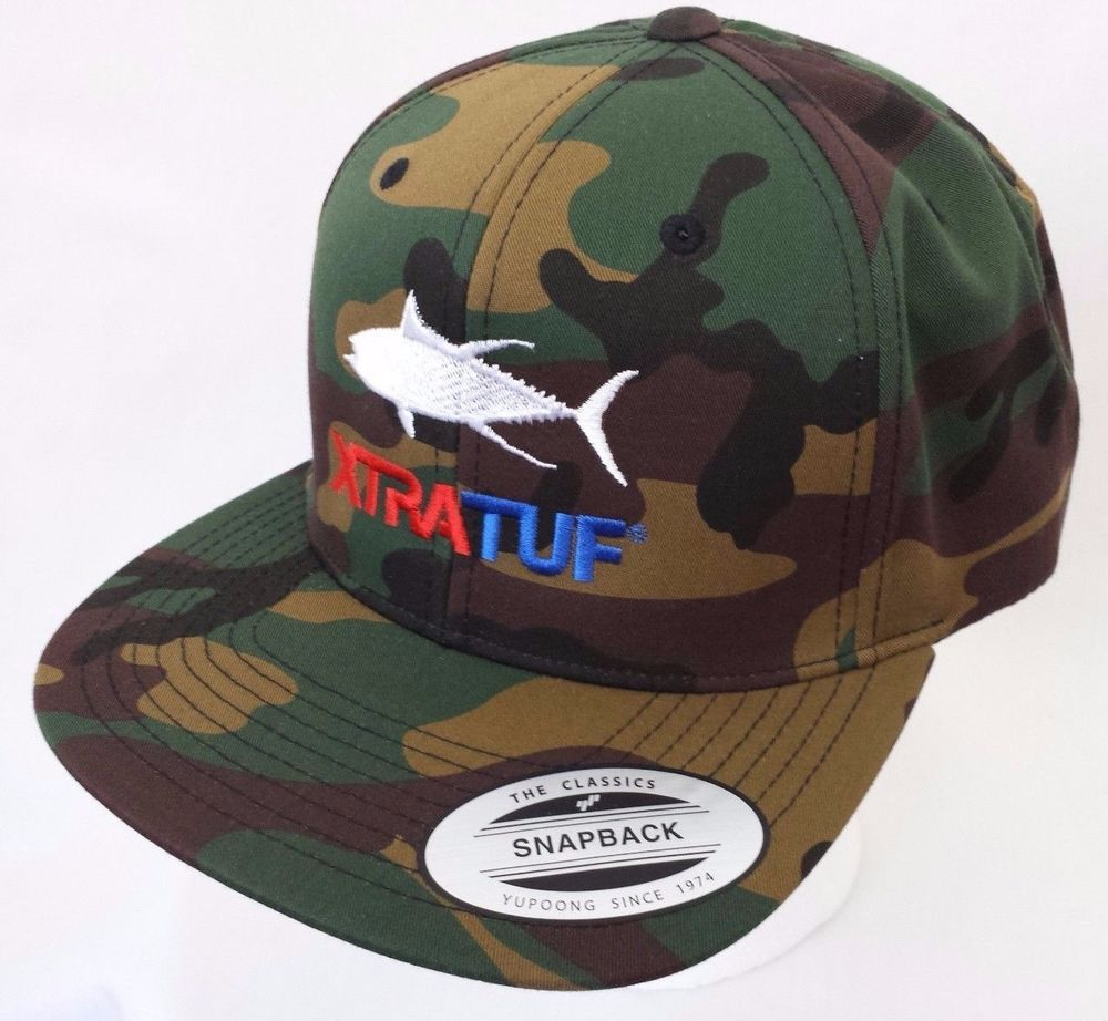 Xtratuf snapback hat camo with fishing logo xtratuf for Fishing hats for sale