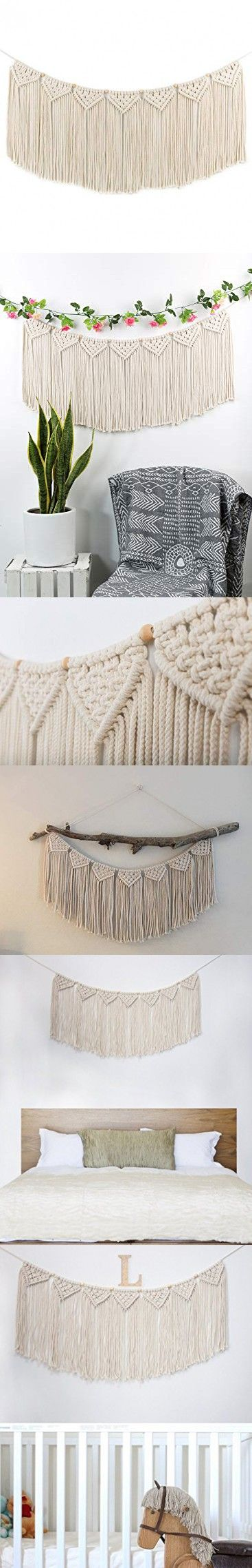 Macrame Woven Wall Hanging Curtain Fringe Garland Banner - BOHO Shabby Chic Bohemian Wall Decor - Apartment Dorm Living Room Bedroom Baby Nursery Art - Party Backdrop Decoration, 15W x35L, 7 flags #curtainfringe