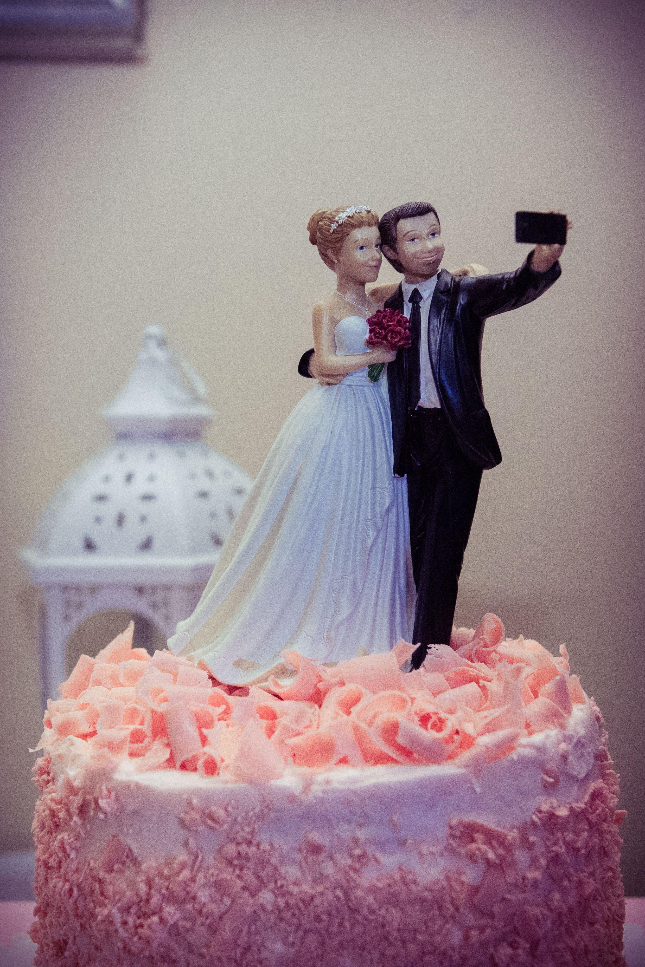 Wedding Ballroom Bride Groom Just Married Wedding Cake
