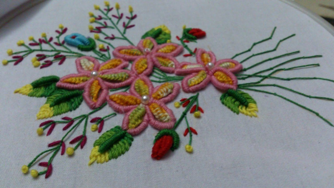 Hand embroidery designs. double cast on, bullion knot ...