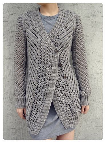 Sweater Knitting Patterns Free : Oblique Cardigan free knitting pattern and more free cardigan sweater knittin...