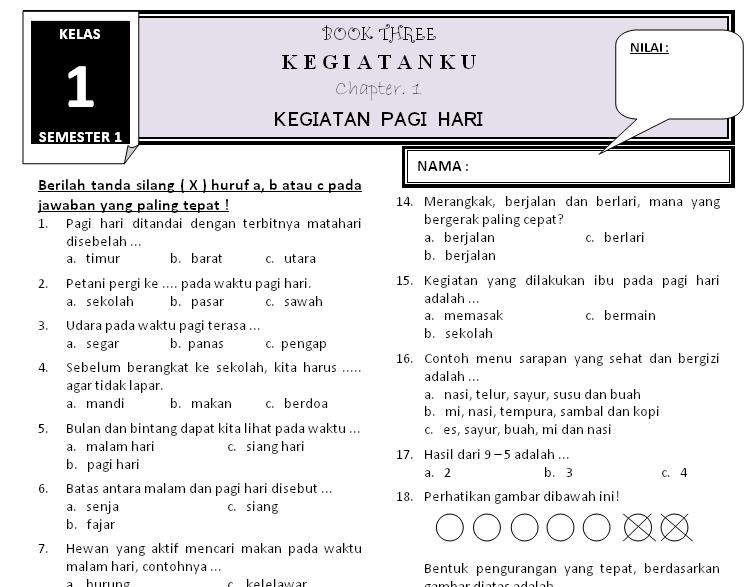 Download Soal Kelas 1 Tema 3 Subtema 1 Rief Awa Kurikulum Pendidikan Kelas Satu