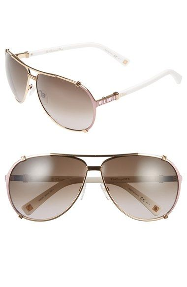 a39c51337e9 Women s Dior  Chicago 2 Strass  63mm Aviator Sunglasses - Gold  Soft Pink   White