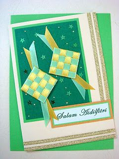 Lin Handmade Greetings Card Green Yellow Ketupat Ribbon Cards Ribbon Cards Greeting Cards Handmade Cards
