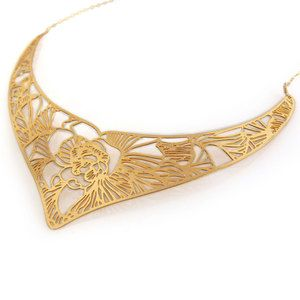Maasai Necklace Flora Gold Plate, by Imprint DNO.
