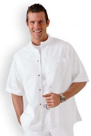 Hurry Jump Label blouse Tunique m/édicale homme col officier 3 poches fermeture pressions Serg/é 210 gramme Couleurs Blanc Pressions inoxydables Lavage Machine 90 degr/és ou industriel