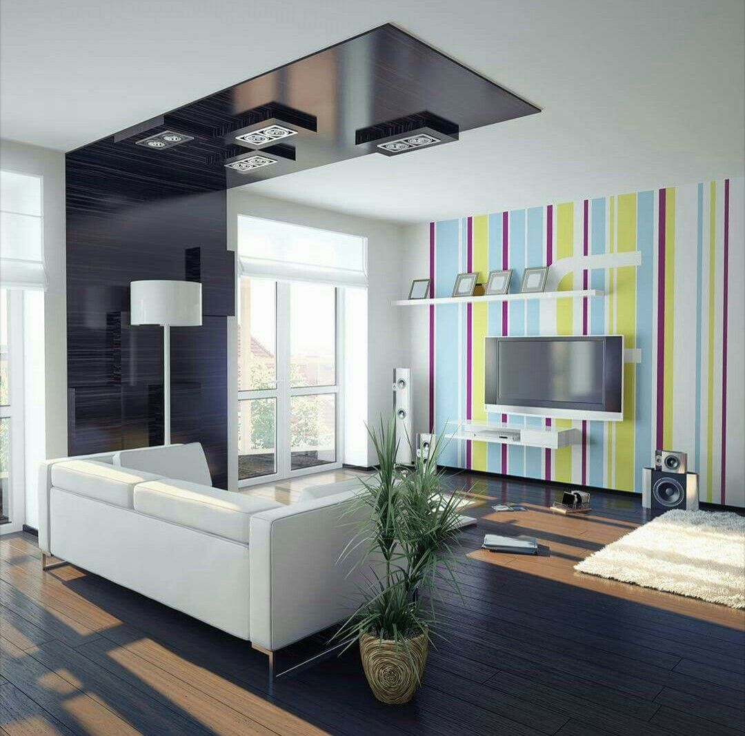 Hall Wid Colorful Tv Wall Background Homebliss Pinterest Tv