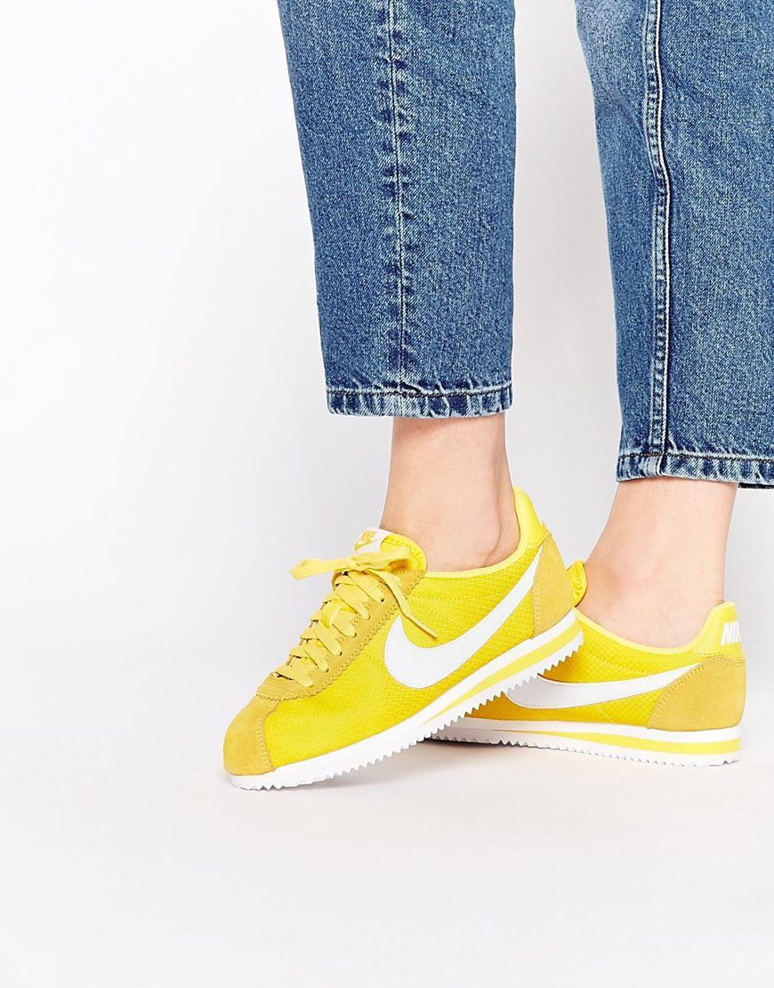 Image 1 of Nike Maize Yellow Classic Cortez Trainers