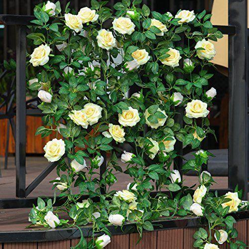 party joy 6 5ft artificial rose vine silk flower garland hanging