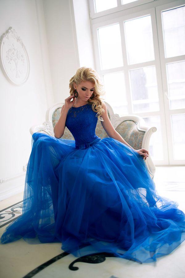 030082e708f Купить синее длинное платье на корпоратив или выпускной Диана