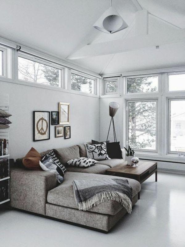 wohnzimmer einrichten ideen fenster sofa grau wohnzimmer Pinterest - Wohnzimmer Einrichten Grau