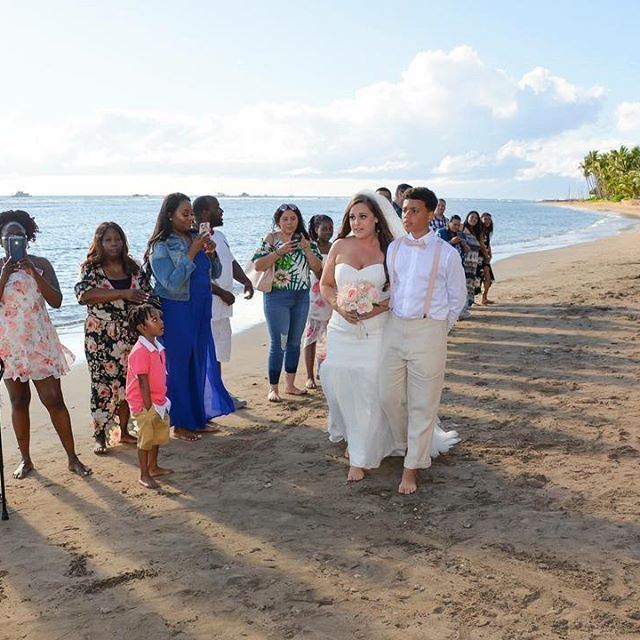 Beach Wedding Ceremony Processional: Sweet Procession Photo At This Wedding On Maui.