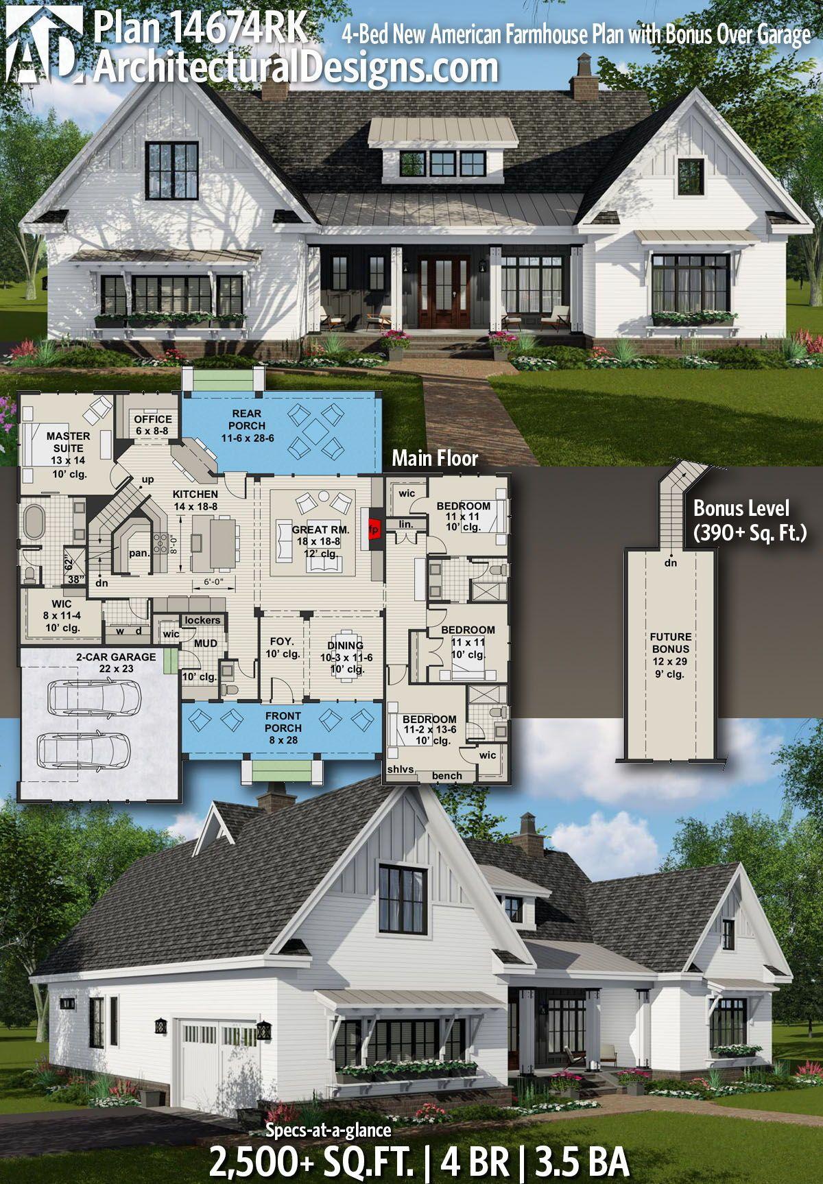 Plan 14674rk 4 Bed New American Farmhouse Plan With Bonus Over Garage New House Plans Modern Farmhouse Plans House Plans Farmhouse