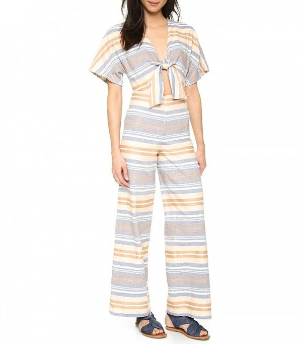 Solid and Striped Cutout Silk and Cotton Blend Jumpsuit