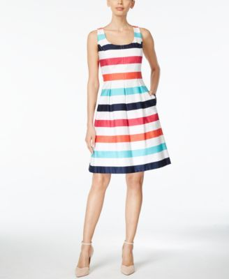 4bbcb7c223d Nine West Sleeveless Striped Fit   Flare Dress - Dresses - Women - Macy s