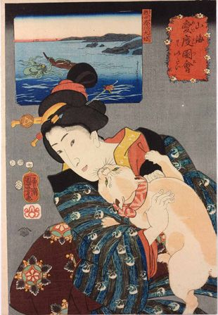 Utagawa Kuniyoshi, Woman Playing with a Cat, 1852. Color woodblock print, 14 « x 9 7/8 in. American Friends of the British Museum (The Arthu...