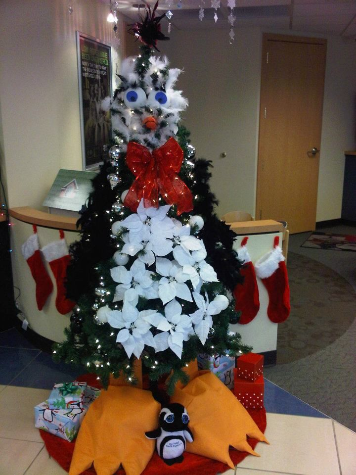happy feet penguin christmas decorations littleton branch tree decorating contest
