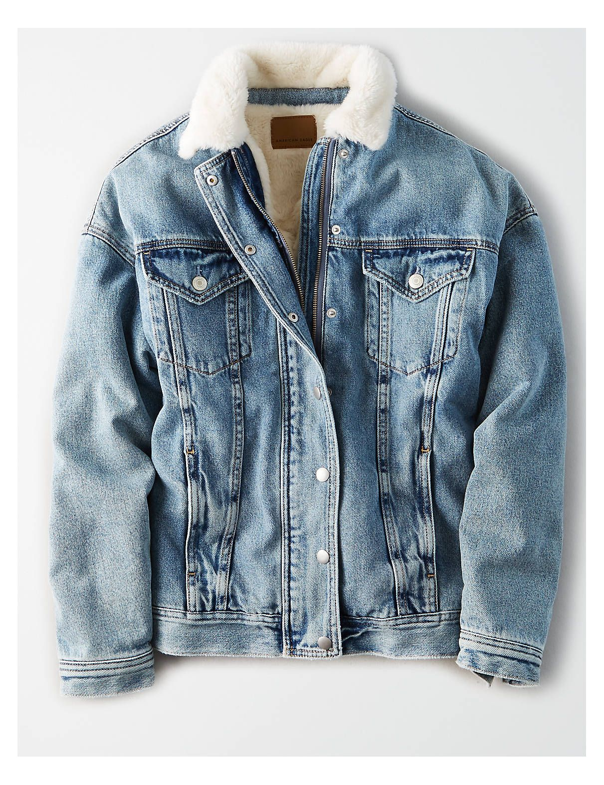3a87a92095a AE Fur Lined Boyfriend Denim Jacket