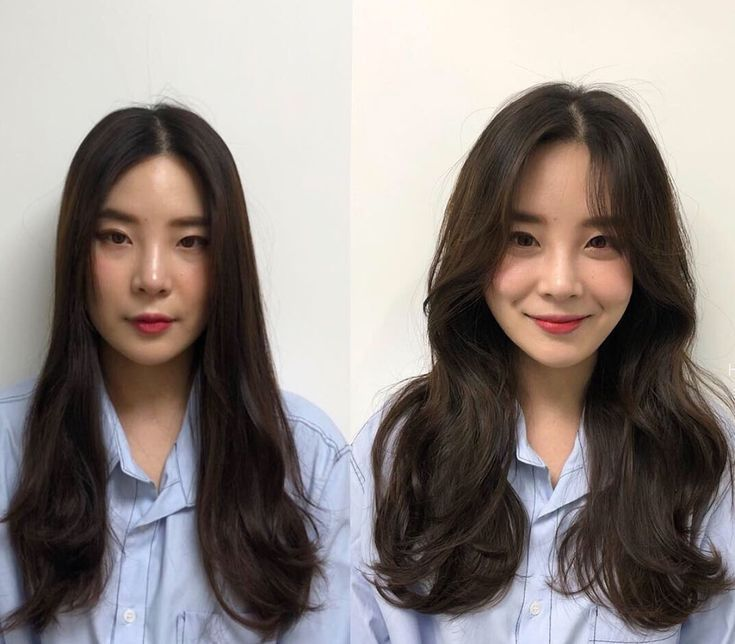 See the before and after with Korean long side bangs? They are absolutely life saver to round ...