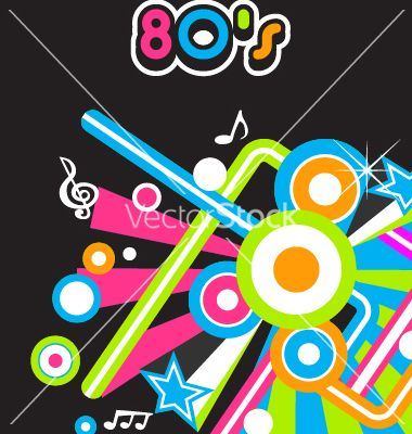 80s music vector   Logo vector graphics   Party background