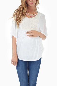 9aad366392e Ivory Crochet Accent Flowy Open Back Maternity Top