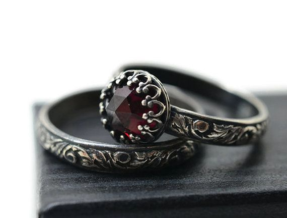 Garnet Wedding Set Natural Almandine Engagement Ring Personalized Women S Band Oxidized Silver Renaissance Bridal Jewelry