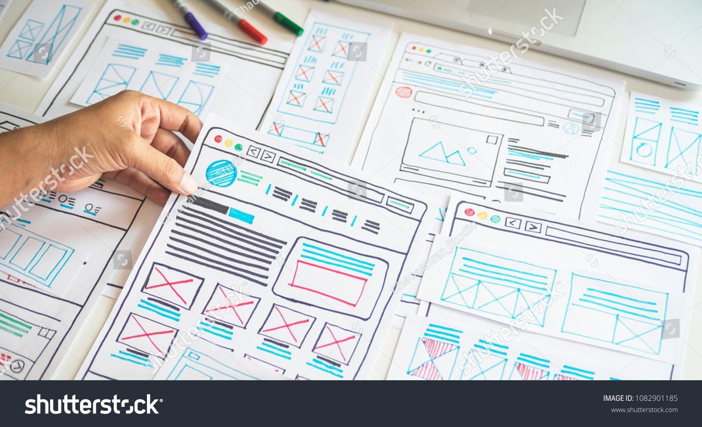 Website Designer Creative Planning Application Development Draft Sketch Drawing Template Layout Framework Wireframe D Website Design Wireframe Design Wireframe