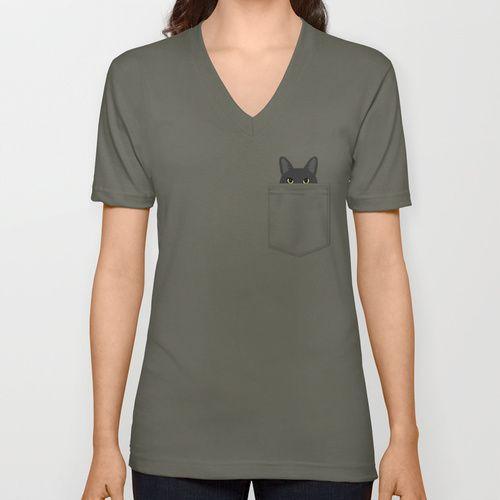 Pocket Black Cat V-neck T-shirt
