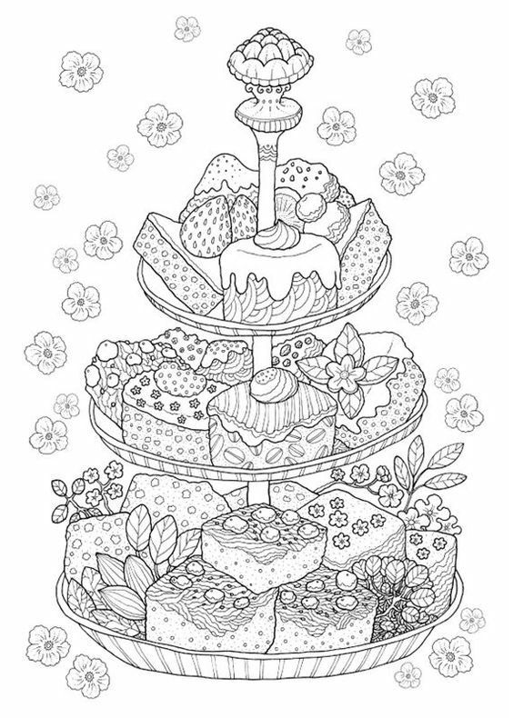 Cakes fit for a tea party pinterest tea for Tea party coloring page