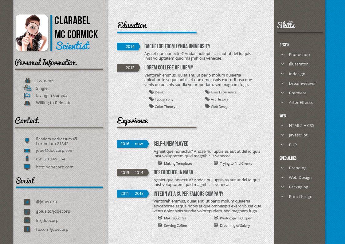Creative Resume and CV g1 – A4 Landscape – Scheme 1 – 1 | portfolio ...