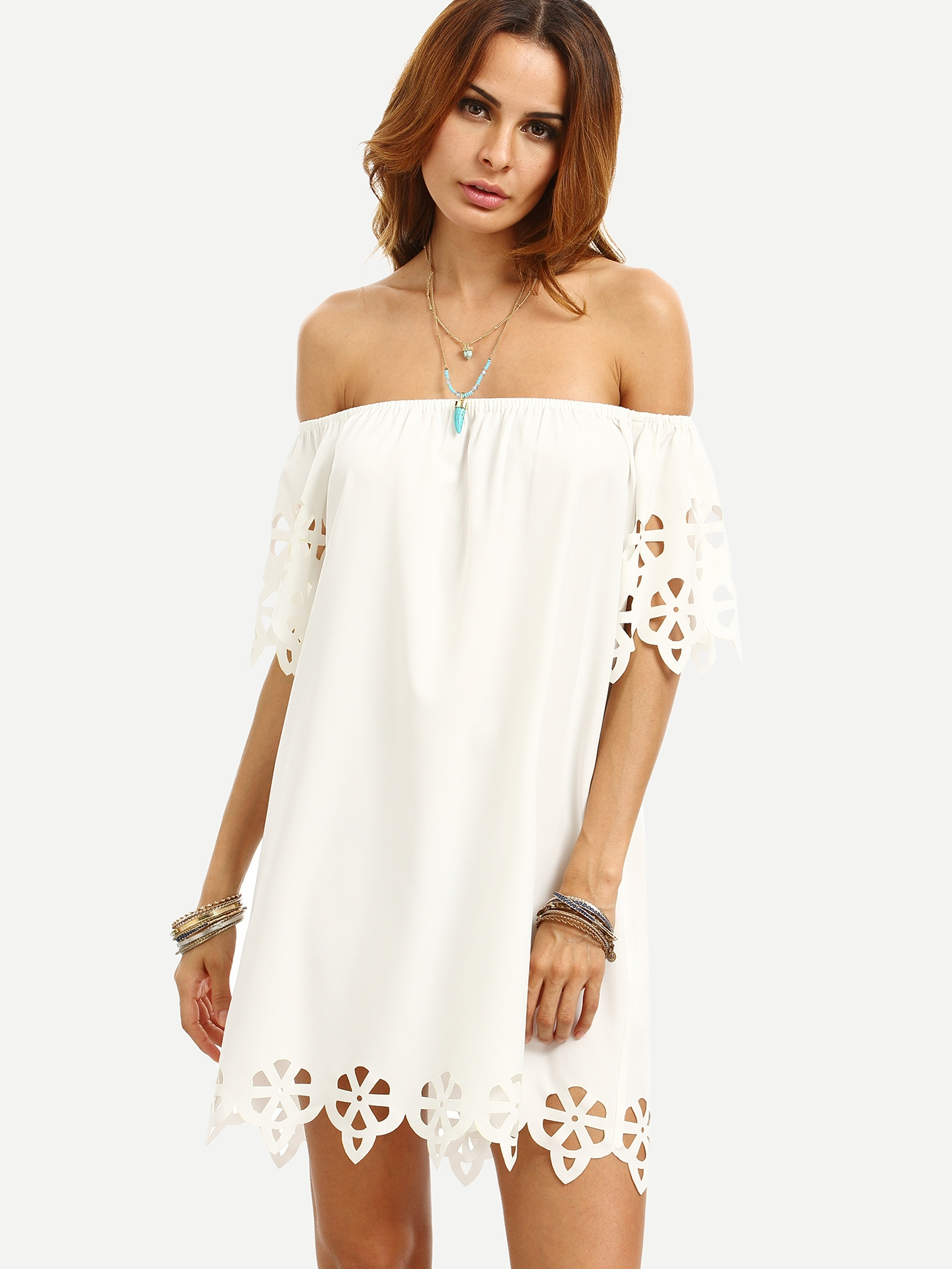 15$  Watch here - http://di7xy.justgood.pw/go.php?t=3458 - White Cutout Off The Shoulder Shift Dress