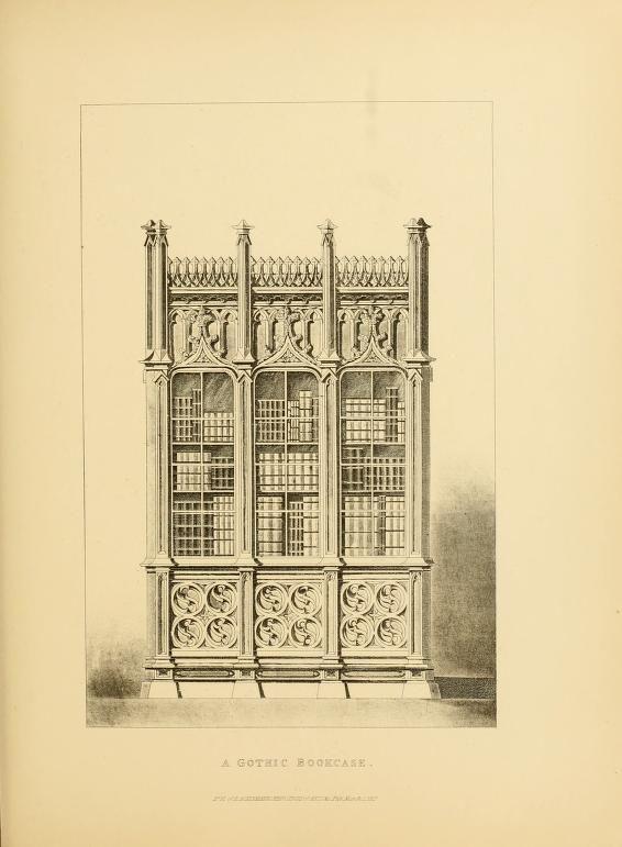 Antique Gothic Bookcase ~ Antique Gothic Furniture, Gothic Revival Furniture
