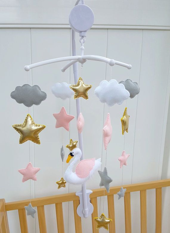 magical swan baby mobile