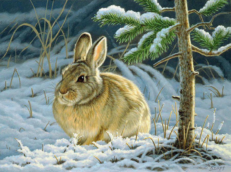 животные зимой картинки рисунки приготовления