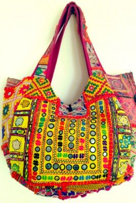 Carmona Tote: handmade with vintage tribal fabric patches.. AMORE!!