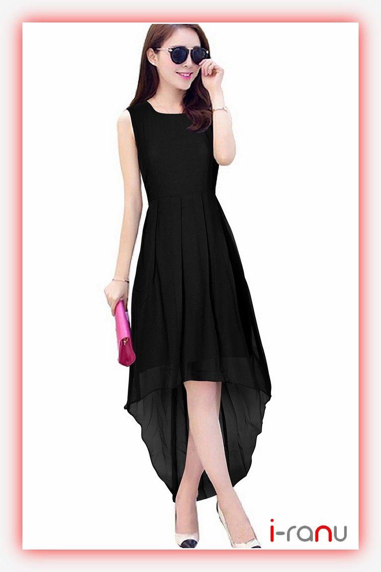 Black georgette partywear straight western dress for womens  72015bad6