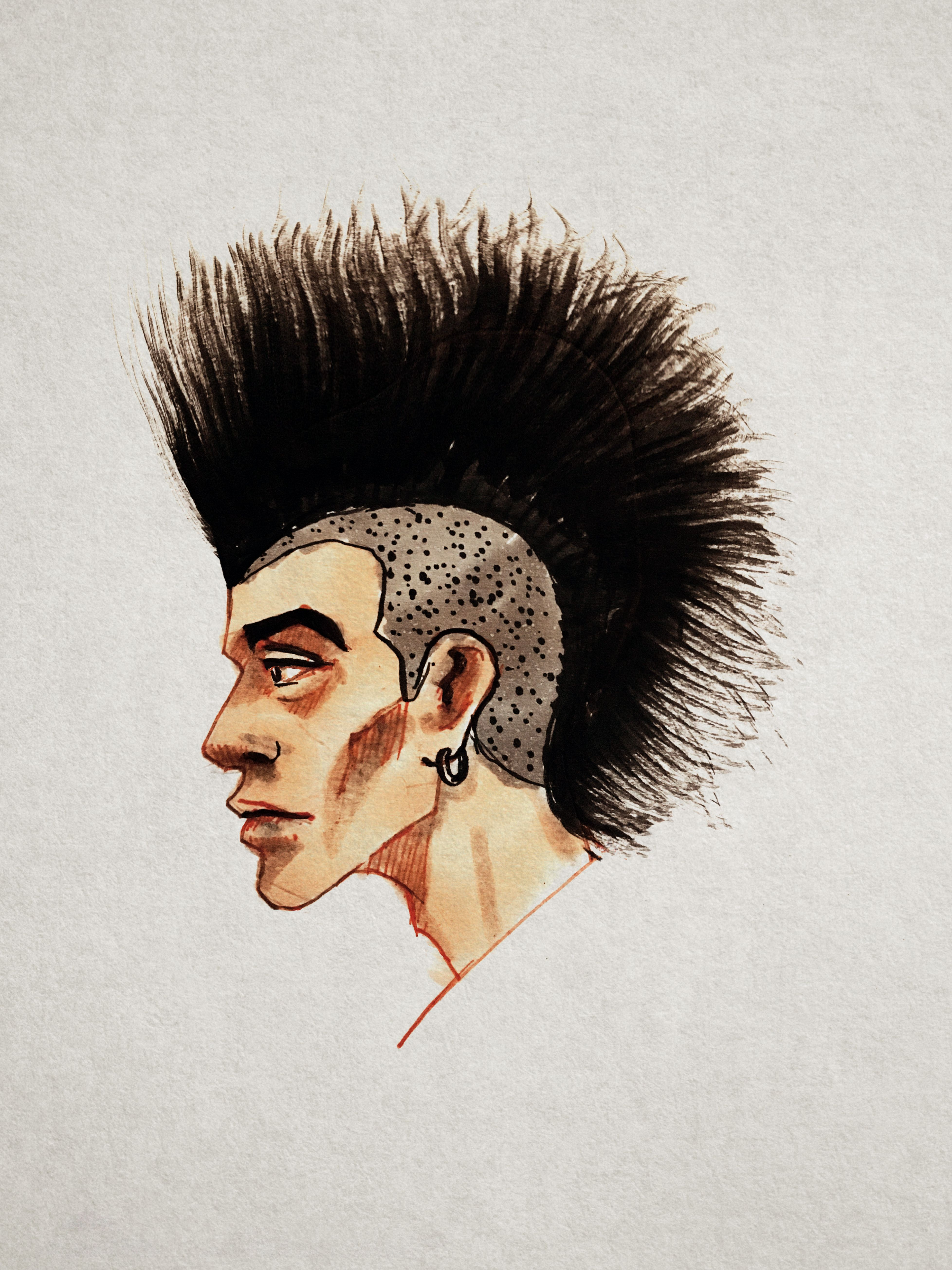 Punk male head hair style drawing