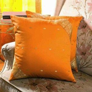 Mustard - Set of 2 Decorative handcrafted Sari European Pillow Cover, Euro Sham