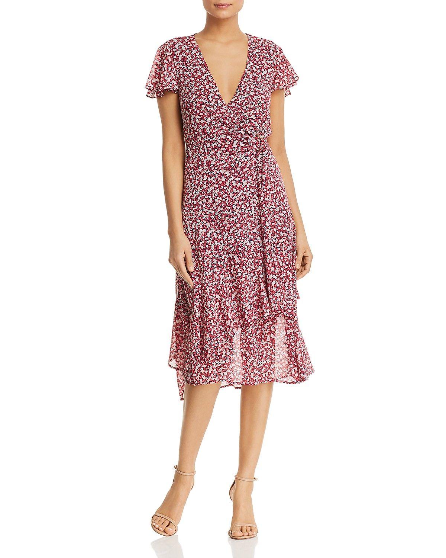 Michael Michael Kors Micro Floral Ruffled Wrap Dress Women Bloomingdale S Dresses Midi Length Summer Dresses Summer Dresses Sundresses [ 1500 x 1200 Pixel ]