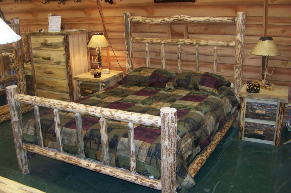 Twin Full Queen King Rustic Pine Log Deluxe Bed Frame, western lodge ...