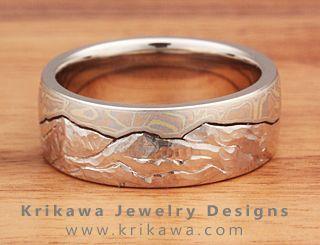 Mokume Gane Mountain Wedding Ring
