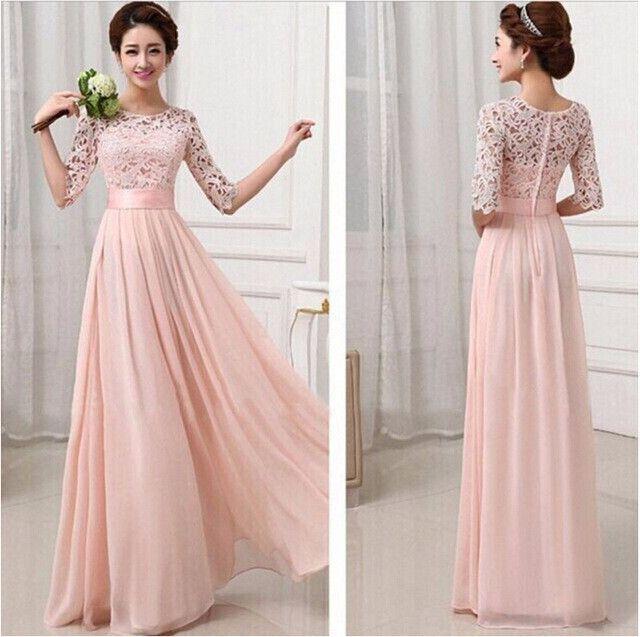 Plus Size Mid-Sleeve Chiffon Lace Dresses Maxi Summer Dresses ...