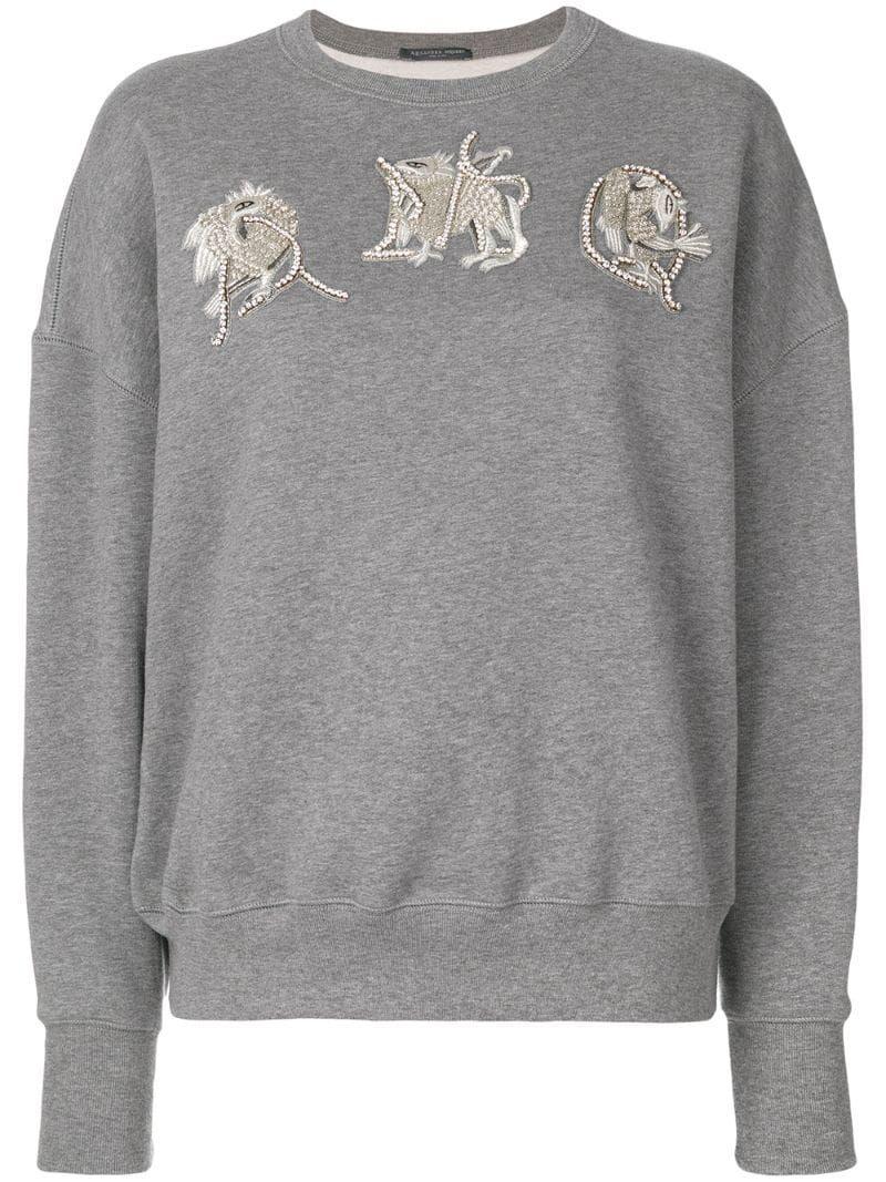 Alexander McQueen AMQ embroidered sweatshirt Grey