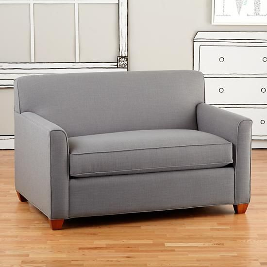 The Land Of Nod Sofa So Good Twin Sleeper Cement In Upholstery