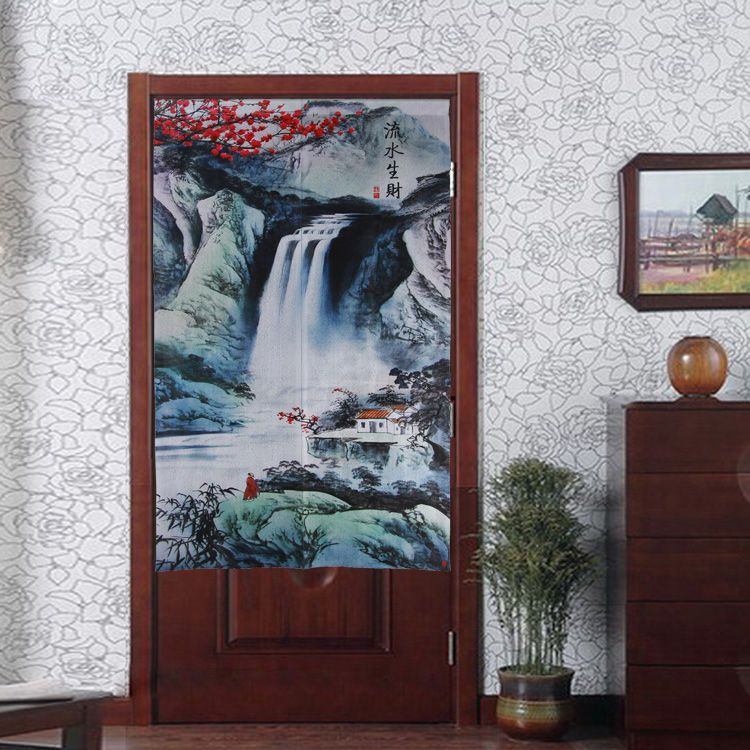 Traditional Japanese Noren Chinese Ink Paint Scenery Doorway Curtain D3076  #Sino #Asian #Curtains
