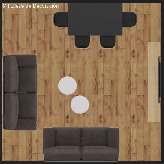 15 formas de distribuir los muebles en un salón cuadrado | Muebles ...